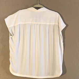 Ivory short sleeves dressy button down Loft blouse